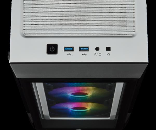 WHITE CORSAIR iCUE 22OT RGB Tempered Glass mid tower atx
